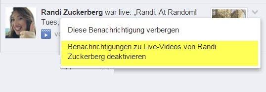 Facebook Live Benachrichtigung Ausschalten - deaktivieren für eine Person